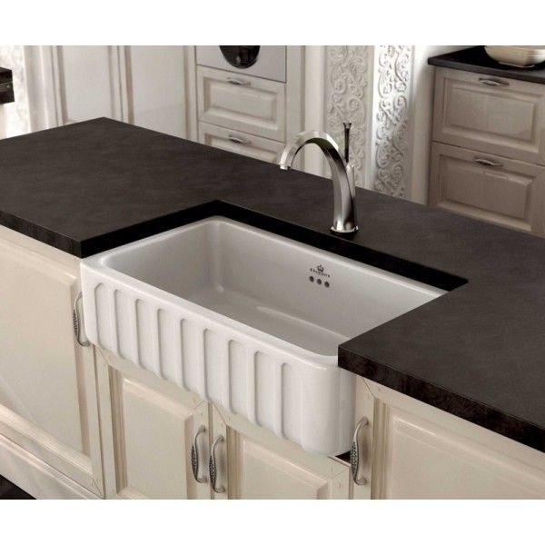 Fluted Apron Sink – Vitreous China Glazed Fireclay Sink 759mm ...