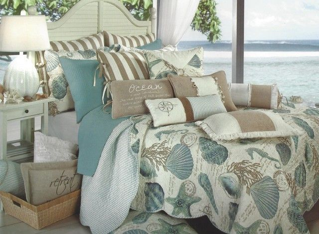 New seashore quilt full queen aqua seashell coastal for Seashell bedroom decor