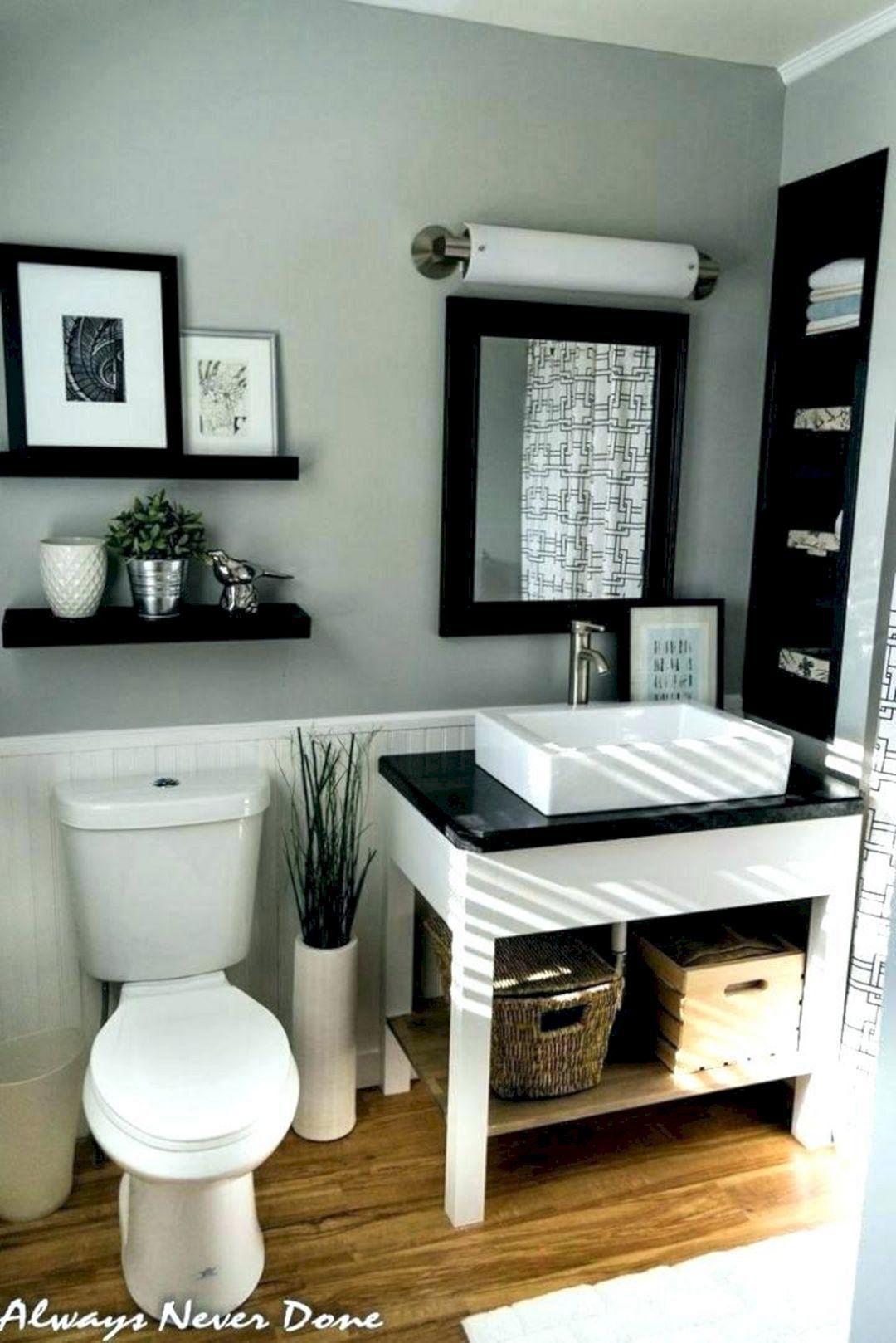 15 Incredible Black And Grey Bathroom Design Ideas Small White Bathrooms Master Bathroom Renovation Small Bathroom Decor