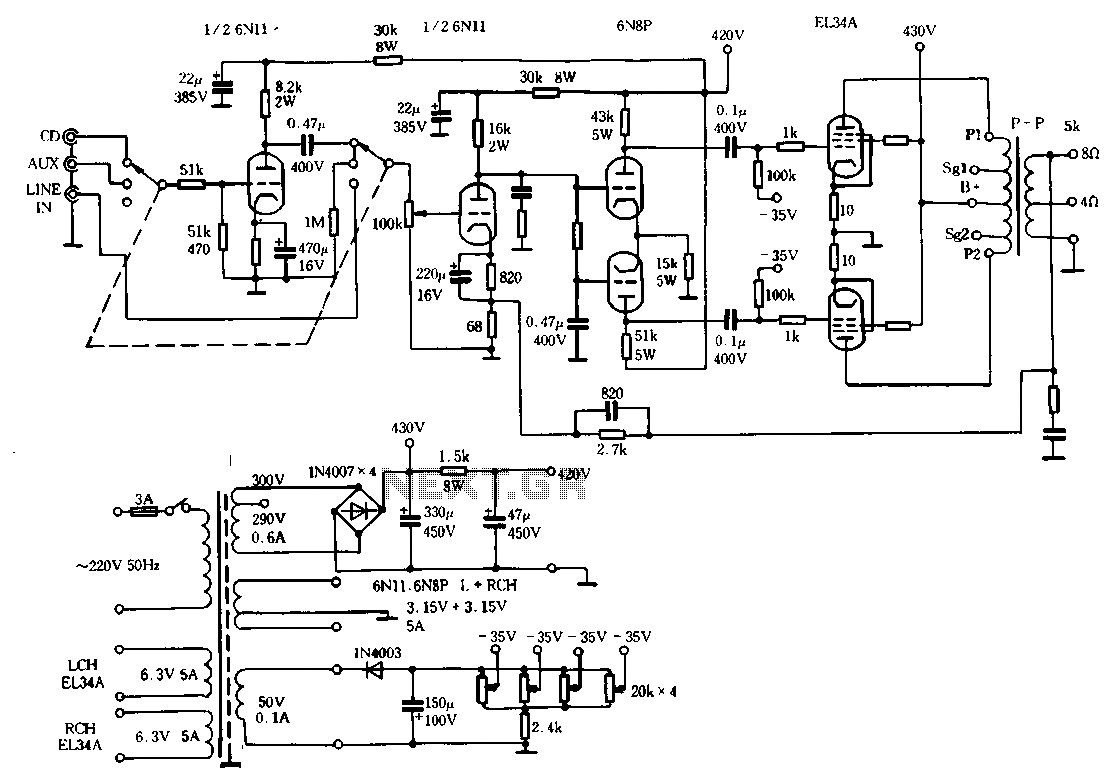 Rhyme M100 Merger 10 Watt Tube Amplifier Circuit Schematic Diagram For