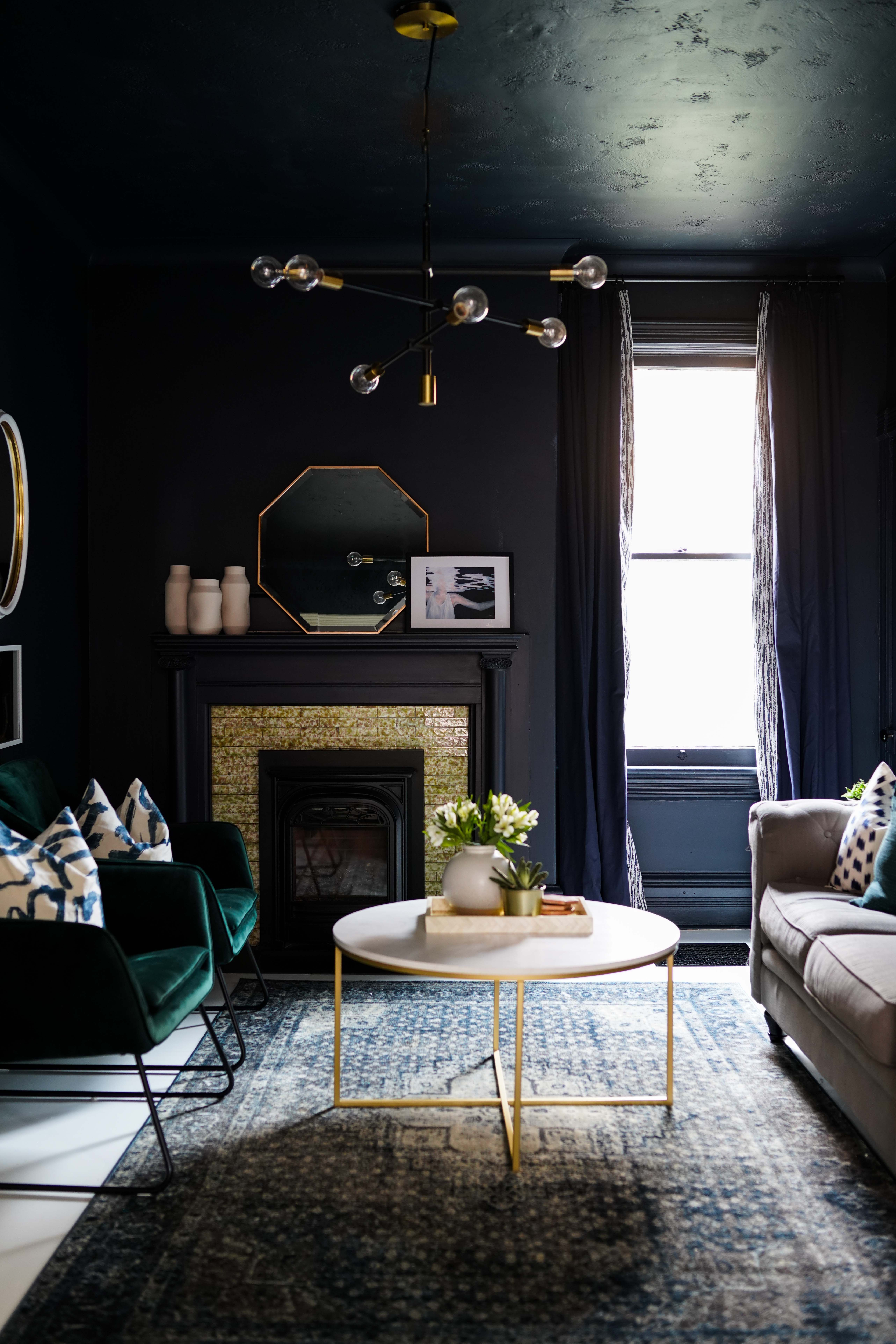 Dark Painted Walls Ceiling And Trim Moody Den For The One Room