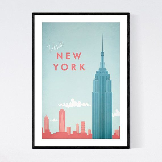 New York City Poster New York City Art New York City Print Vintage Poster Travel Poster Travel With Images City Prints City Art Travel Wall Art