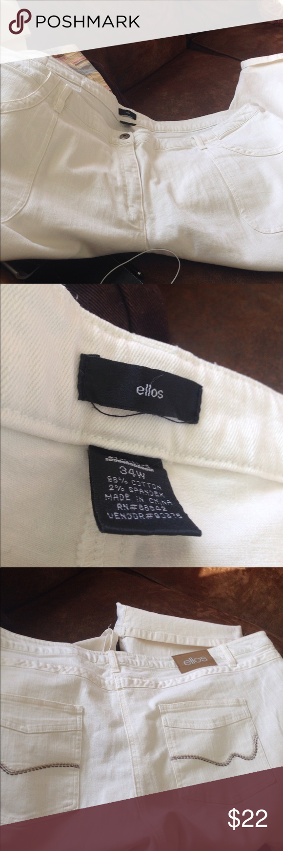 dbe131f4a2ca3 Ellos Capri Jeans Off white with brown stitching
