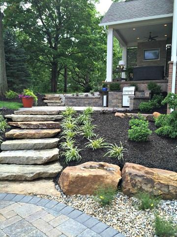 Large Flat Stones To Step Down For Back Yard Visual Not Used As A Step Large Backyard Landscaping Garden Stairs Garden Steps