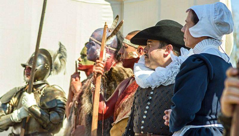 Actors at the Pocahontas wedding reenactment in Jamestown, Mass.