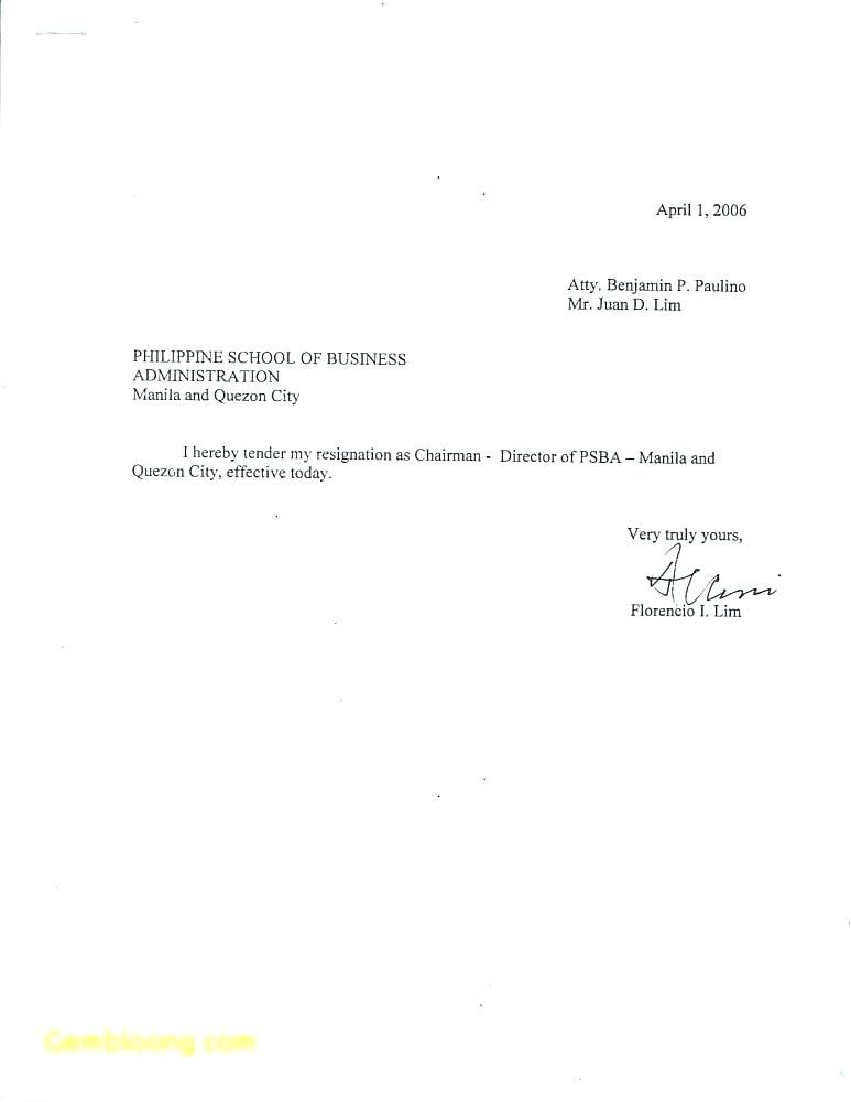 Very Simple Resignation Letter Template Examples Of