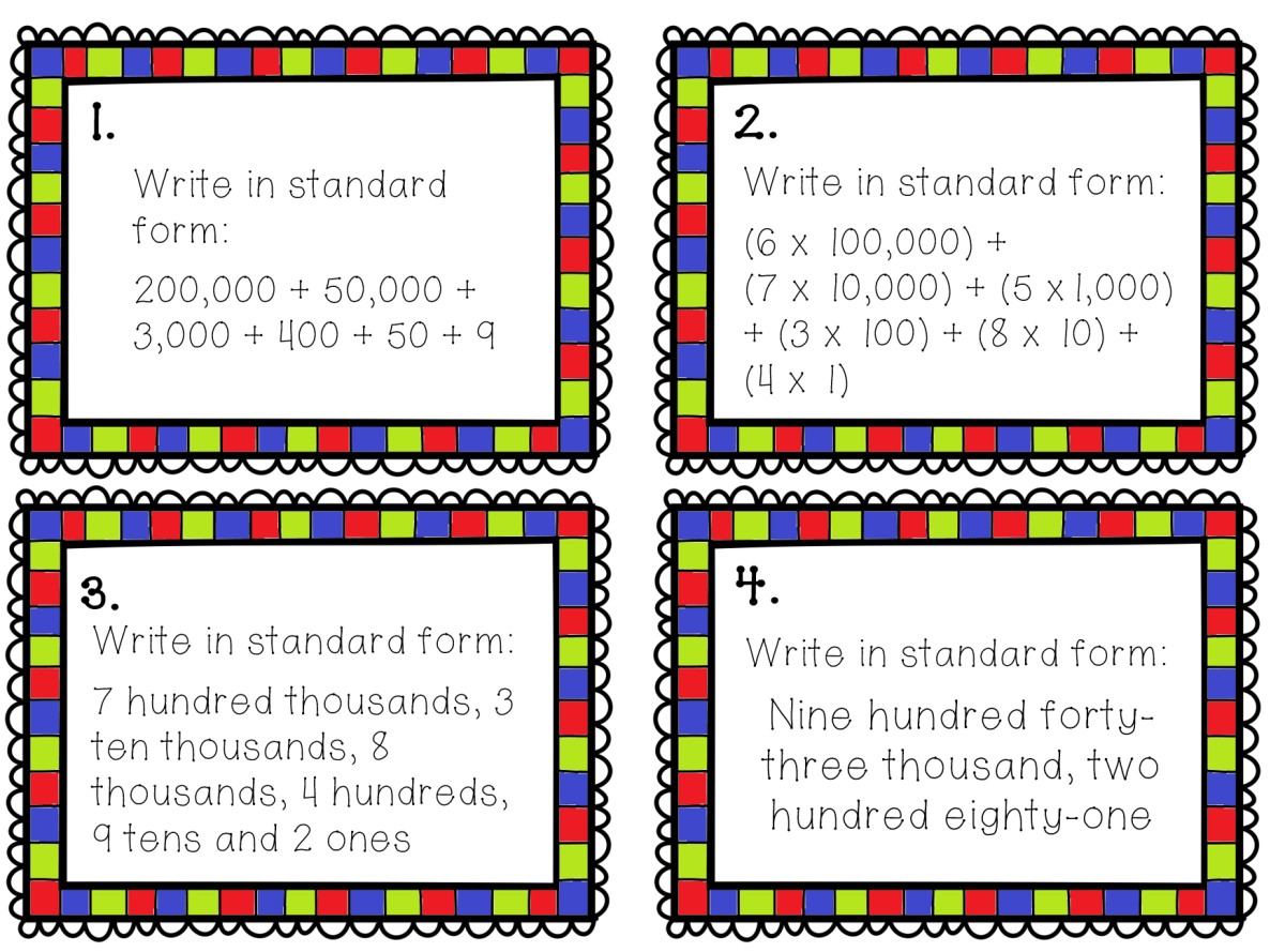 Place Value Task Cards 24 5 And 6 Digit Place Value Task
