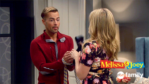 """S4 Ep15 """"The Book Club"""" - The proper use for a tie... At least Mel thinks so!  #MelissaAndJoey"""