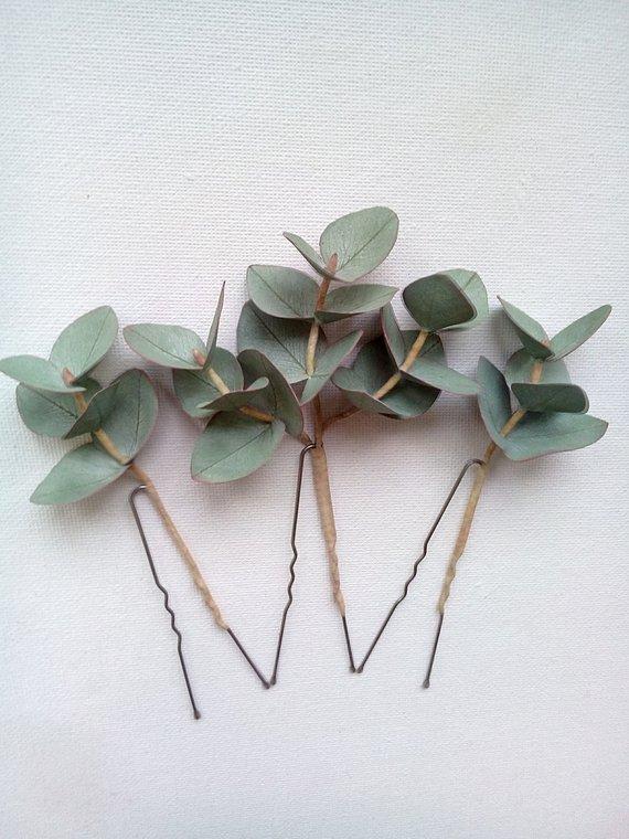 Realistic Eucalyptus Rustic Hair Pins Real Touch Eucalyptus Leaves Bridal Hair Pins Greenery Wedding Hair Pins Bono Bridal Hair Pins