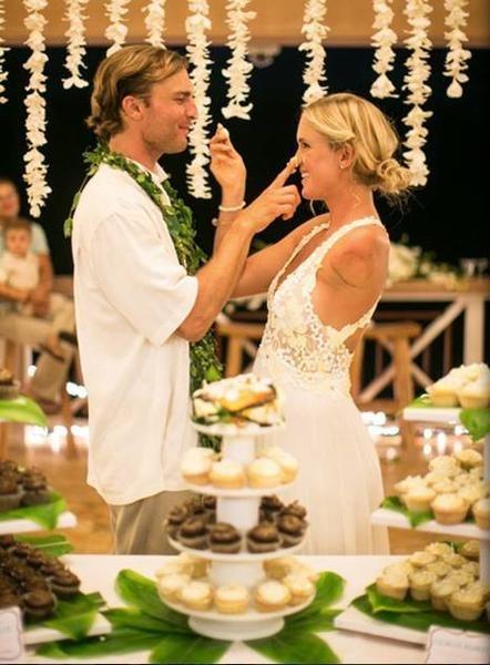 Criss Cross Low Back Bridal Dress Bethany Hamilton Hand Painted Wedding Dress Wedding