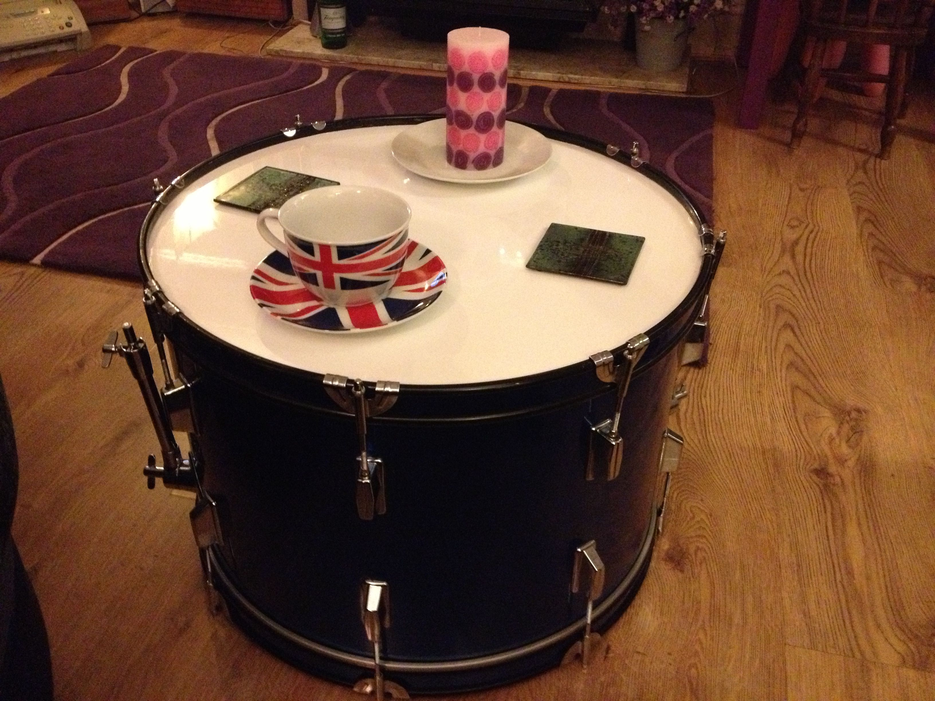 Upcycled bass drum coffee table with gloss white wooden top Blue