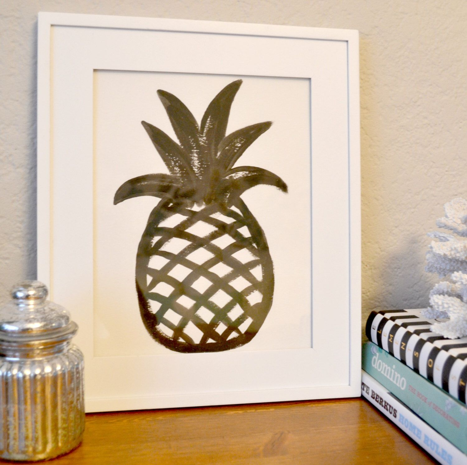Black and white pineapple acrylic painting gallery wall art door