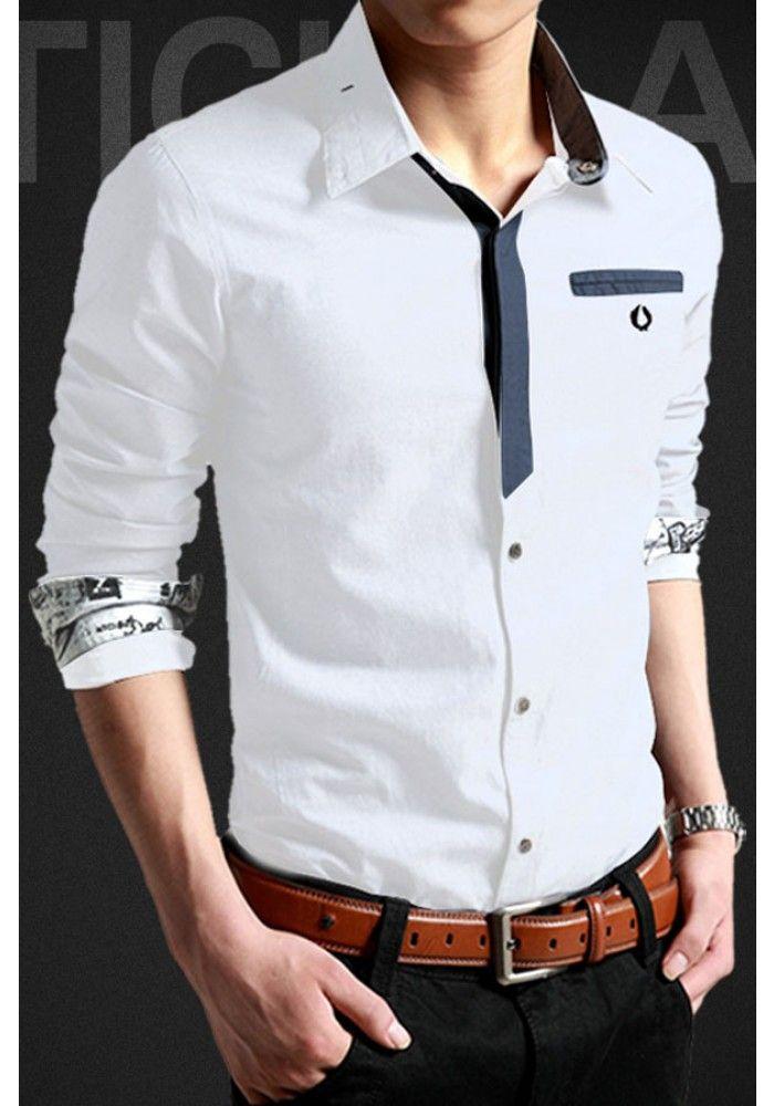 Slim Fit Hidden Button Men Shirt Dress Men Shirt Style Mens