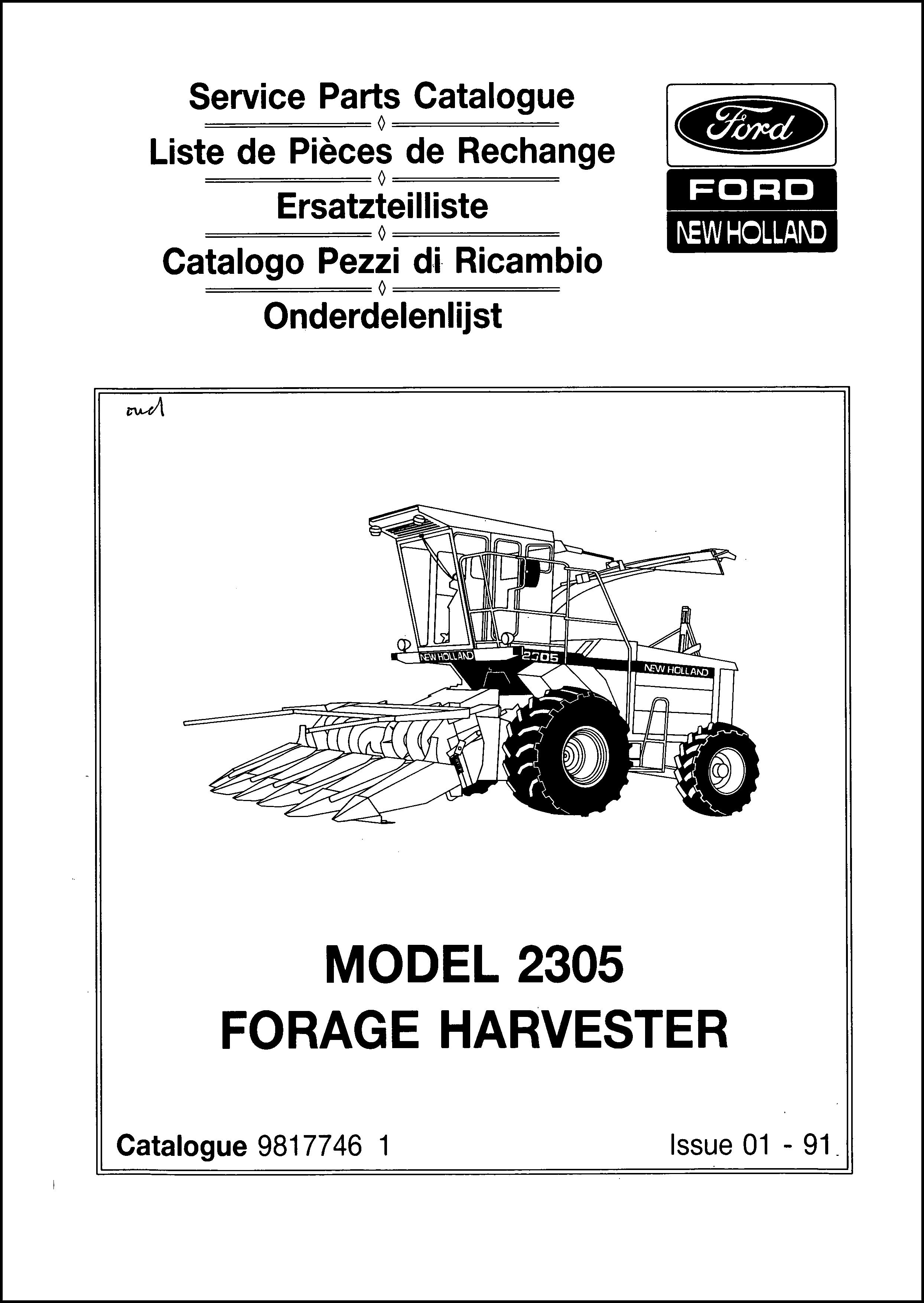 Ford New Holland 2305 Parts Manual For Service Forage Harvester In