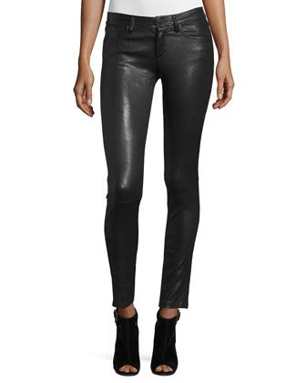 Angie+5-Pocket+Leather+Leggings,+Black+by+Alice+++Olivia+at+Neiman+Marcus.