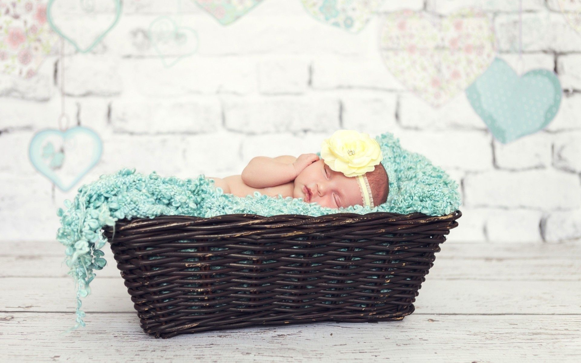 Sweet child girl sleeping flower Cute Baby Wallpapers