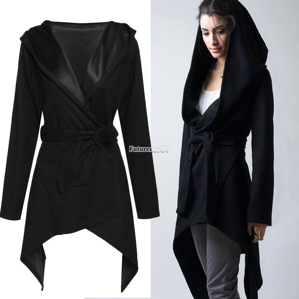 Stylish Women Casual Hooded Cardigan Coat Belted Asymmetrical Long ...