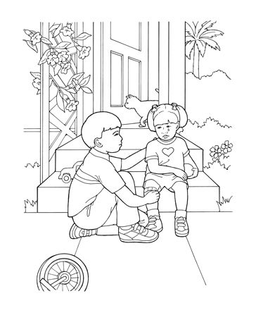 Helping Others Who Are Hurt Lds Coloring Pages Coloring Pages