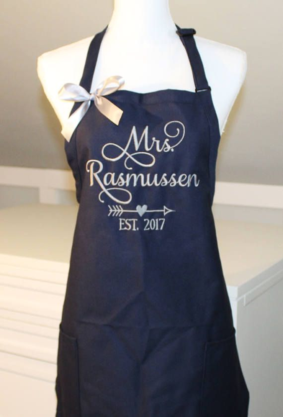 mrs apron with bow bridal shower gift bride apron