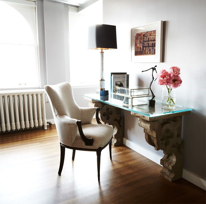 love the architectural elements of the desk and sleek style of the chair. desiretoinspire.net