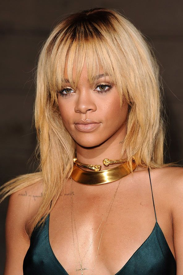rihanna s golden full fringe celebrity hair and