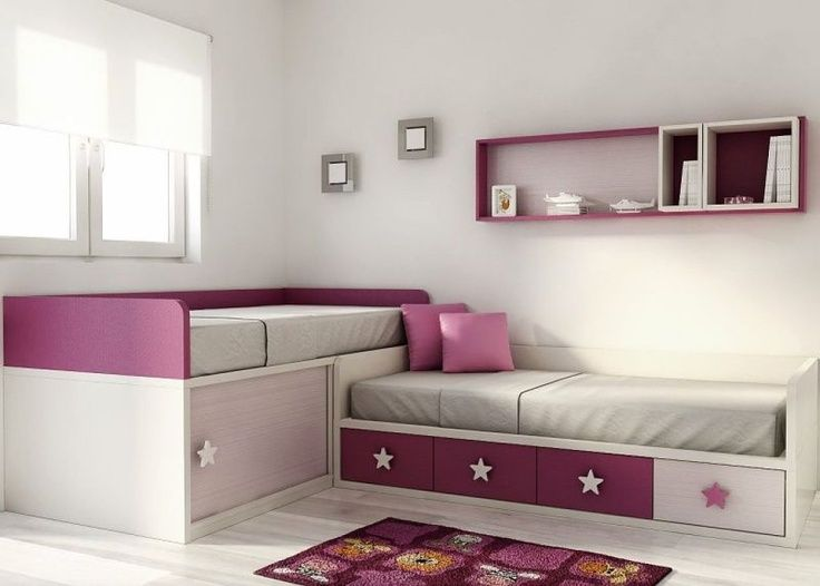 Pin de mariela ibaceta en dormitorio ni as pinterest for Habitaciones dos camas decoracion