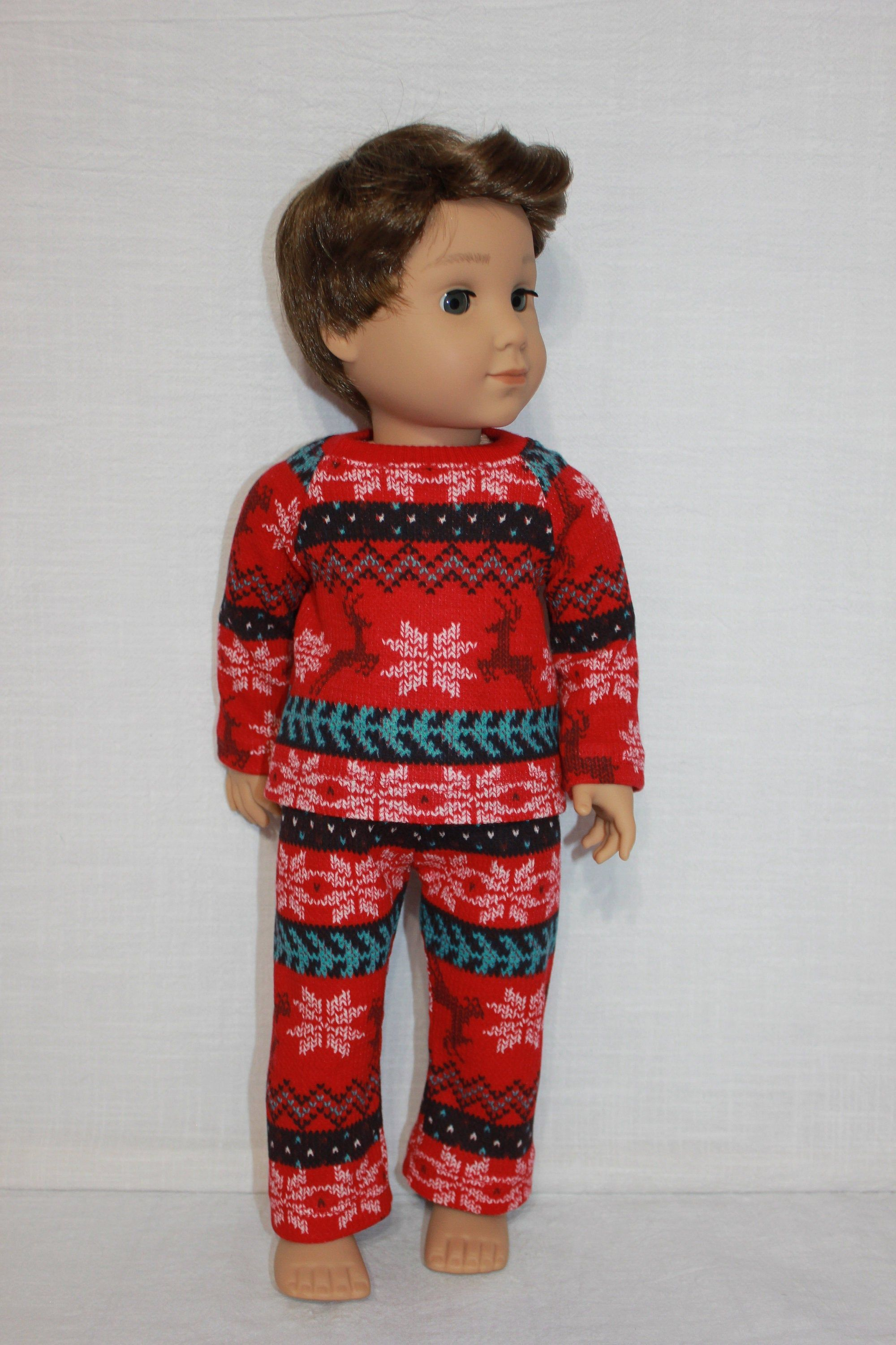 18 inch doll clothes,  Christmas print doll pajamas, snowflake reindeer fairisle print doll pajamas #18inchdollsandclothes