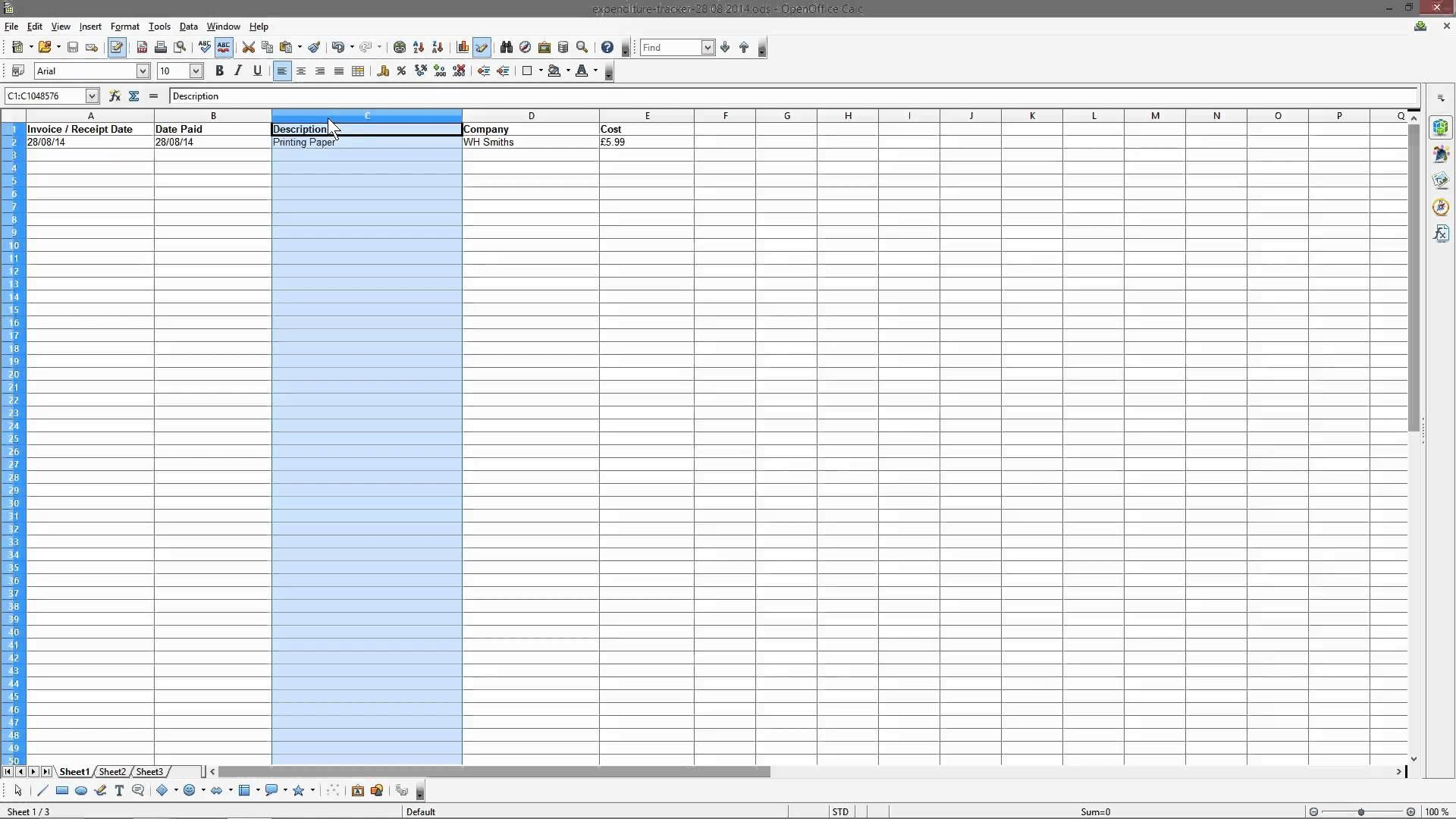 Bookkeeping For Small Business Tutorial Part   Open Office Calc