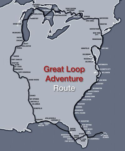 Here s a map of the Great Loop boat trip a circumnavigation around