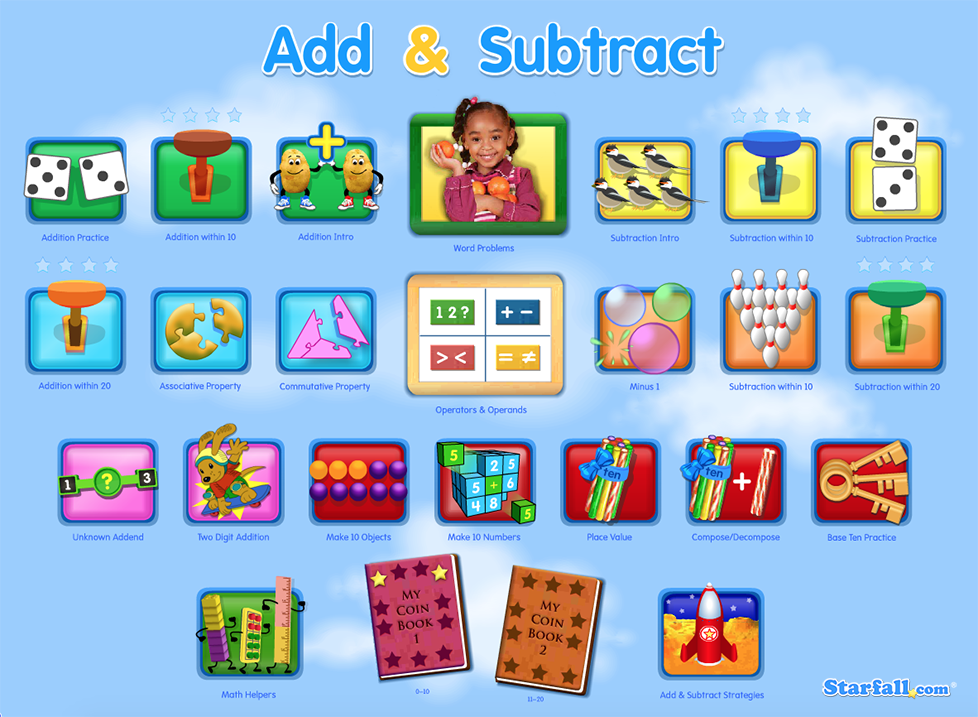 Children can practice adding and subtracting on Starfall