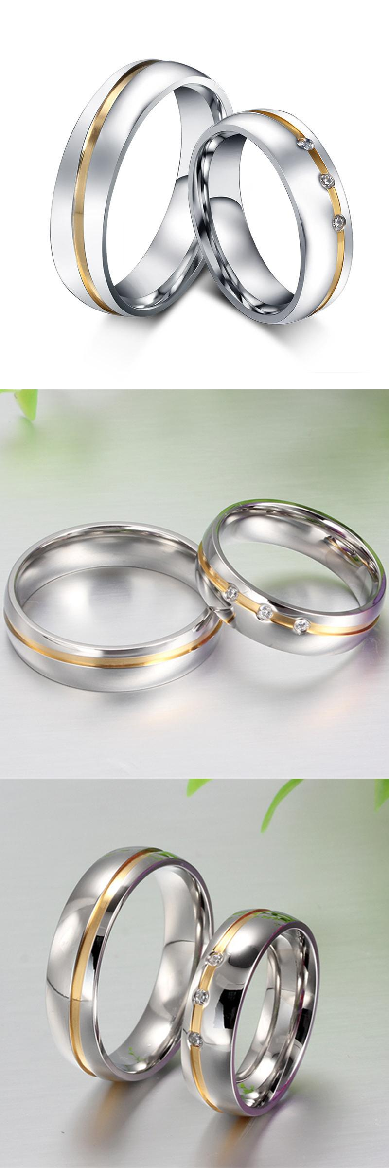 [Visit to Buy] Cubic Zirconia ring Stainless steel couple