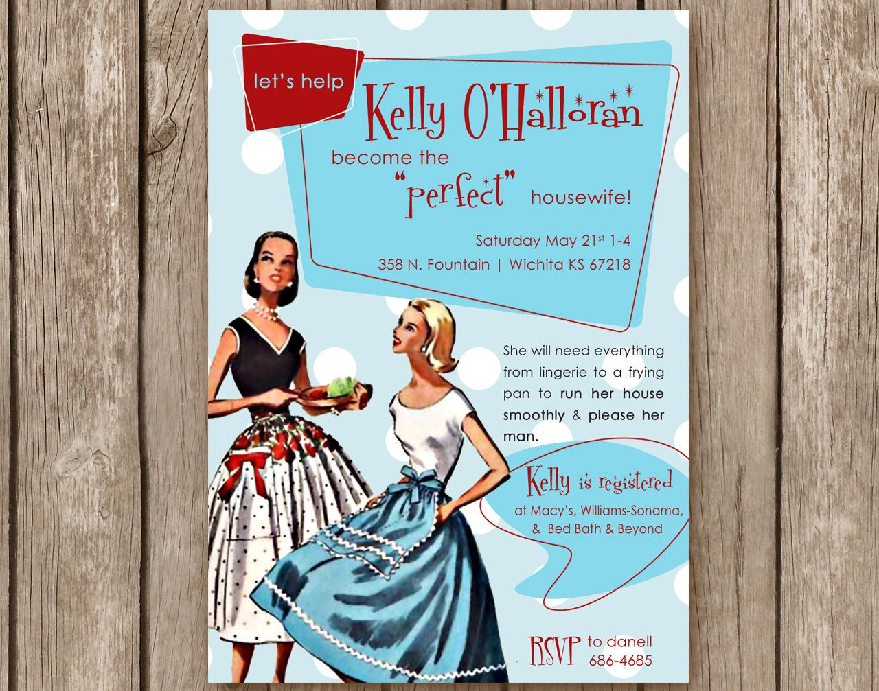 Bridal Shower Invitation Perfect Housewife 50s Retro Party