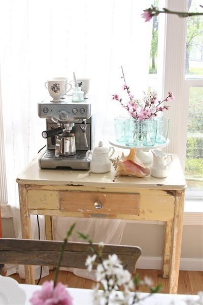 Espresso Machine At Beverage Station Table In A Dining Room; Small Table  Can Also Be