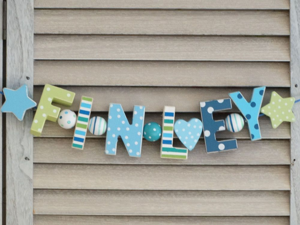 \ finley\  wooden letters letter door name decoration personalised shabby chic & finley\