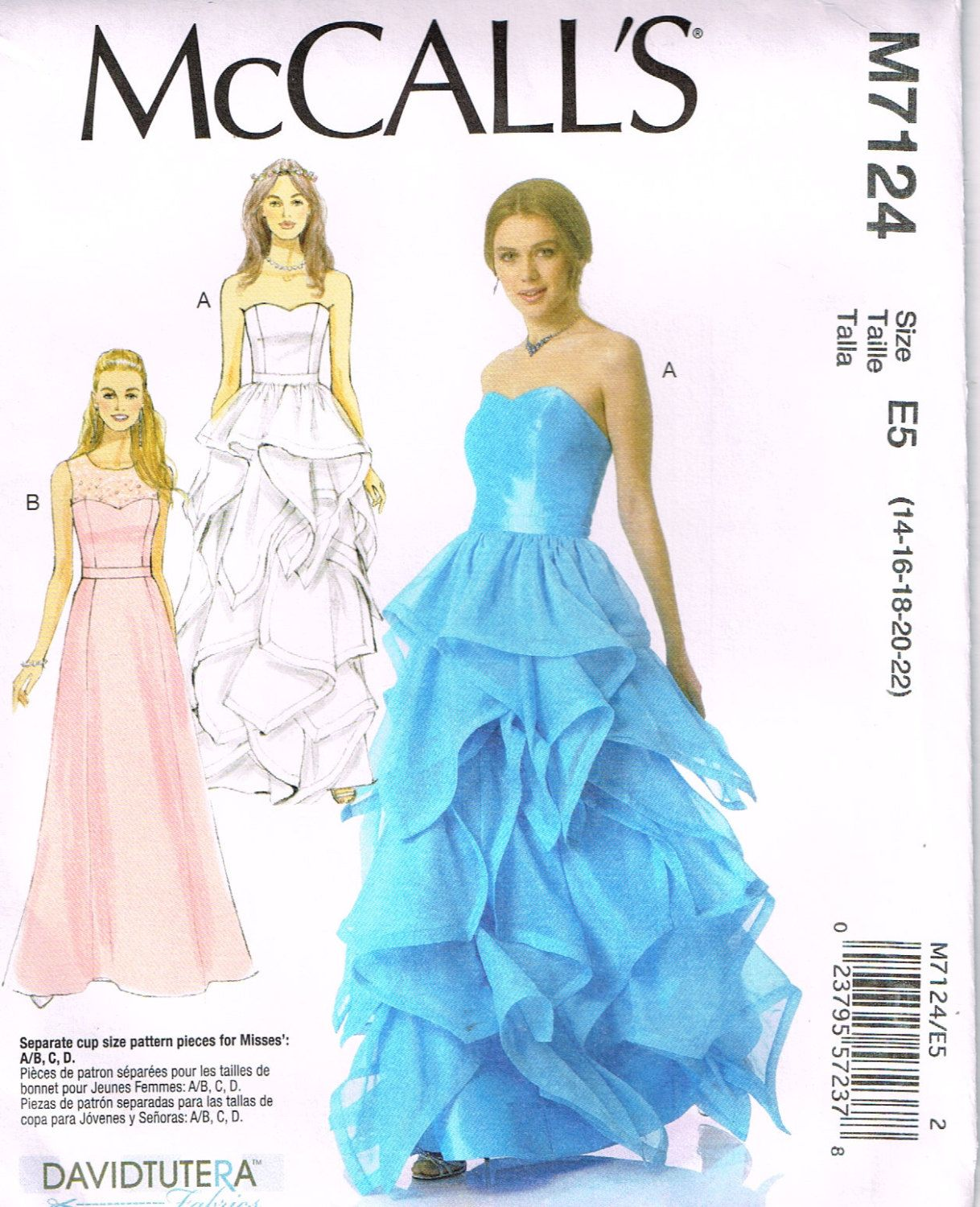 a92f4178fc14b McCall's M7124, Sewing Pattern, Misses' Special Occasion Dress by David  Tutera, Size 14, 16, 18, 20, 22, Prom by OhSewWorthIt on Etsy