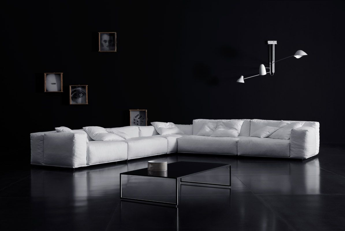 Delano pianca design made in italy mobili furniture casa home delano xl sectional sofa with mix of high and low back in white fabric by pianca parisarafo Gallery