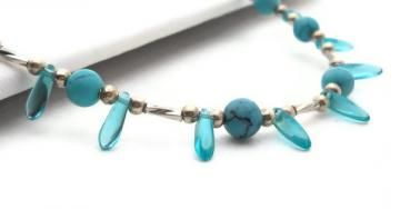 Turquoise and Silver Beaded Necklace $12