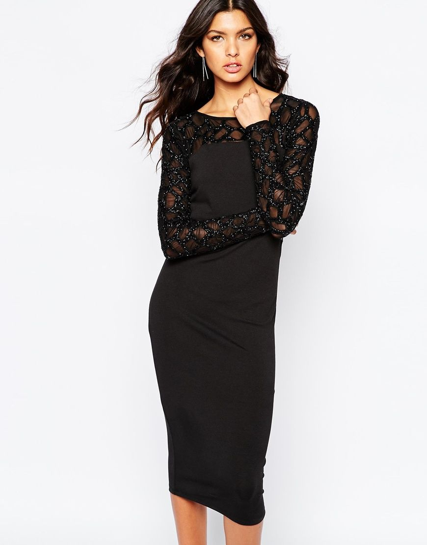 river island embellished sleeve bodycon dress at asos