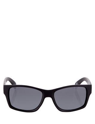 Black Rubber Sport Sunglasses  | New Look