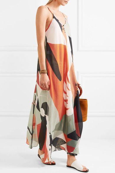 Tropiques Imprimé Robe Maxi Coton - Degreas De Voile Adriana D'orange pT4JRxHfC