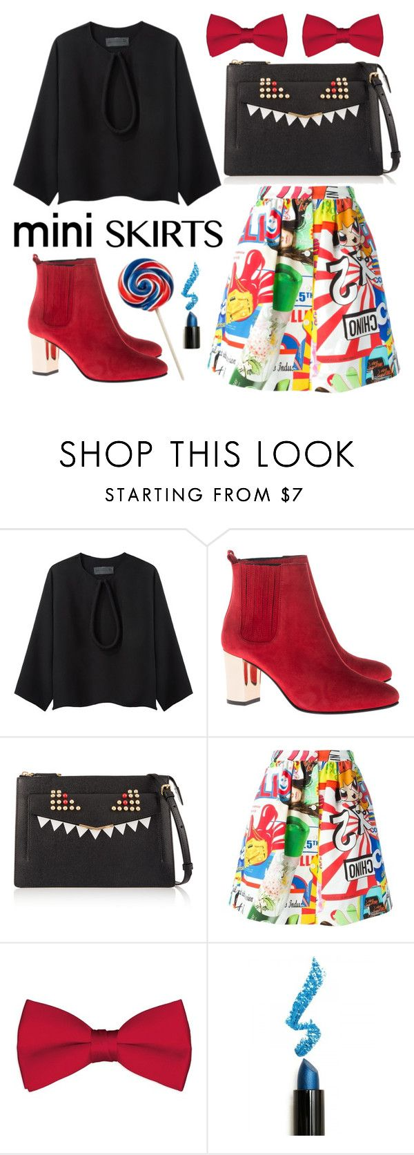 """blue-red-black"" by sandraindriani ❤ liked on Polyvore featuring Jasmin Shokrian Draft No. 17, Opening Ceremony, Fendi, Moschino and Lime Crime"