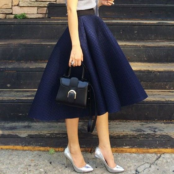 Navy Blue Plain Pleated Hollow-out Skater Flared Vintage Ball Gown High Waisted Fluffy Tutu Midi Skirt