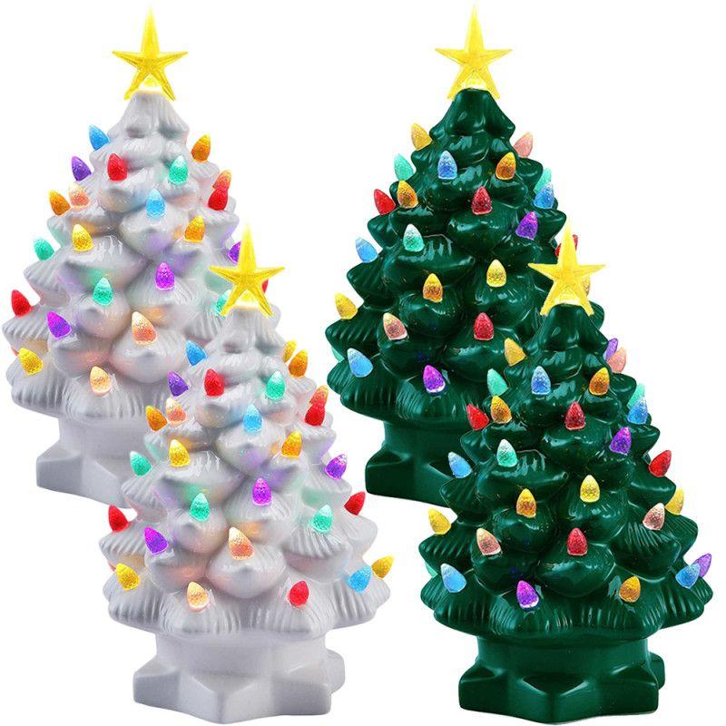 2pk Mr Christmas LED Lighted 7\u201d Porcelain Tree Nostalgic Décor