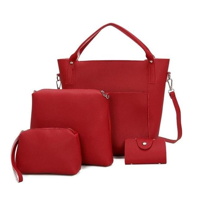 3fb5d172f8f3 4PCS Bag Set Women Shoulder Messenger Bags Vintage Handbags Top-handle Leather  Crossbody Bags 4 Composite Bag Casual Totes 2017