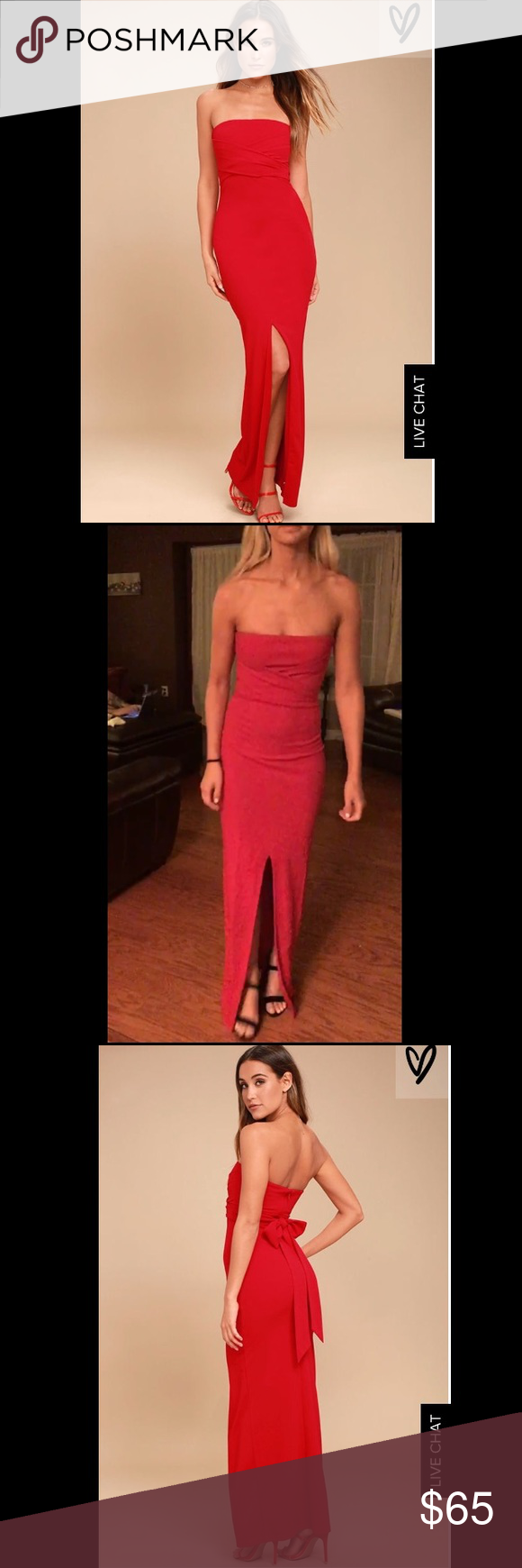 Lulu s - Own The Night Red Strapless Maxi Dress Size SMALL-Beautiful ... a88c36f79