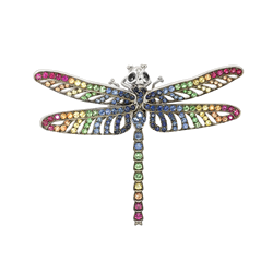 18ct White Gold Multi Gem Rainbow Dragonfly Brooch – Current sales – Barnebys.com