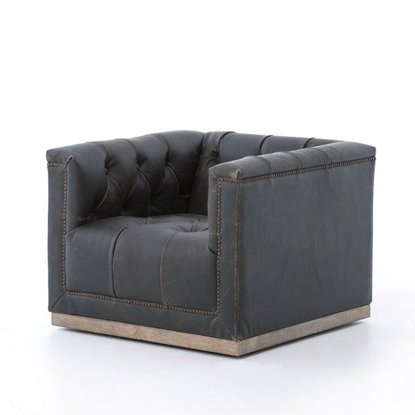 Four Hands Maxx Swivel Chair Destroyed Black Leather Swivel