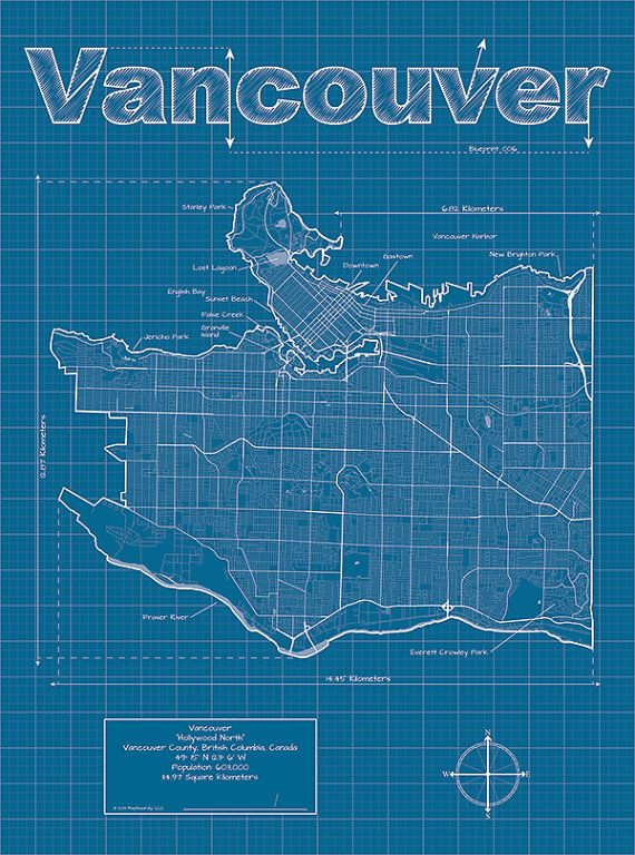 Vancouver map original artwork vancouver blueprint wall art city art vancouver artistic blueprint map by maphazardly on etsy malvernweather Image collections