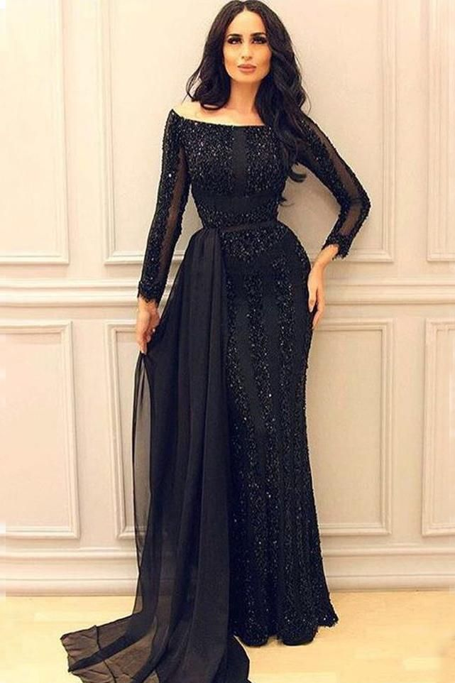 bb1efe9a95 Black Long Sleeves Mermaid Prom Gowns,Sexy Formal Women Evening ...