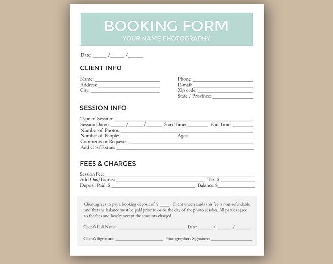 Photography Forms Client Booking Form For Photographer Photoshop